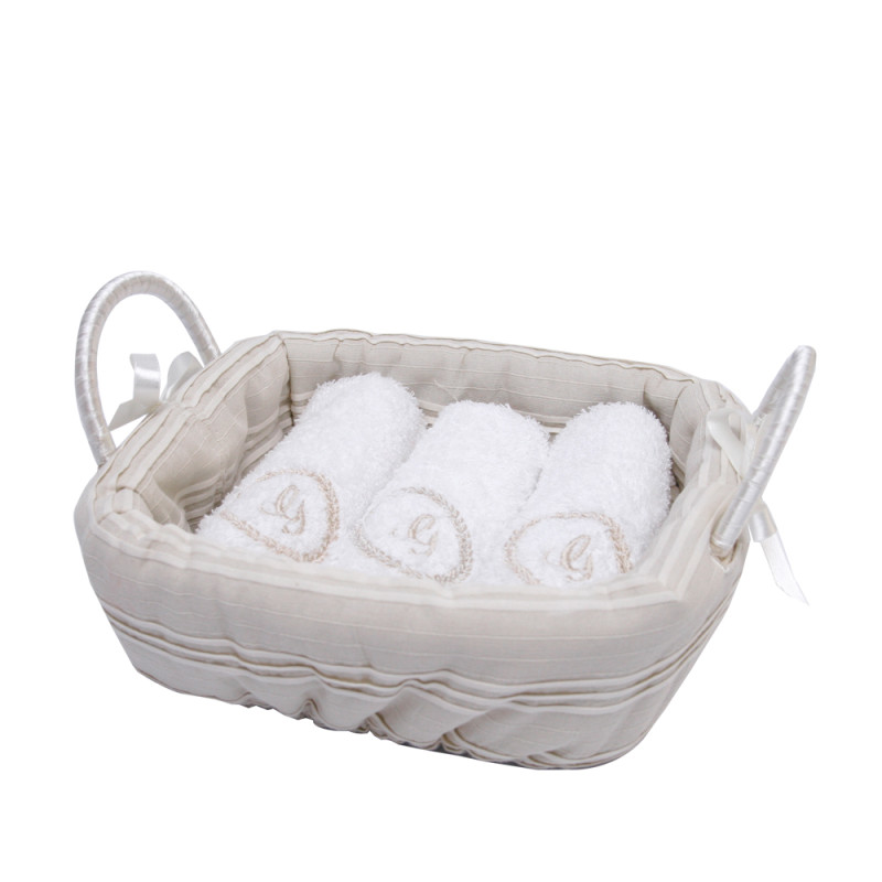 Monogrammed Face Towels And Basket Set